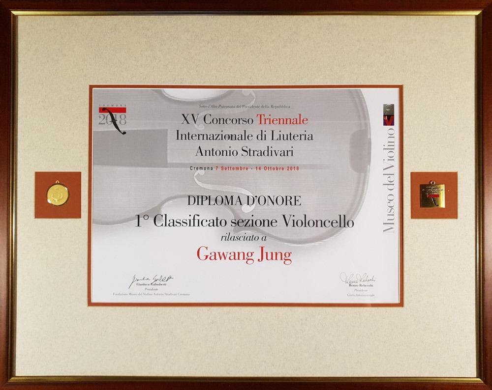 Jung Gawang - Diploma d'onore 1° Classificato sezione Violoncello - Triennale 2018